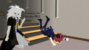 MMD Life - Yami and the stairs by InvaderBlitzwing