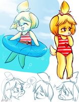 Isabelle Swimsuit doodles by Dotoriii