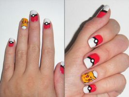 Nail Art: Pokemon! by aqualye