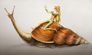 Snail riding by Delhar
