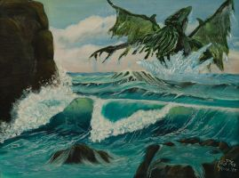 Cthulhu Comes Ashore (Thrift-Store Painting 01) by Midnight-Vanburen