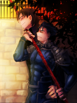kotomine and lancer by teapin