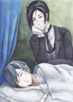 Sebastian and sleeping Ciel by frassino
