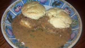 Biscuits and Pseudo-Swedish Meatball Gravy by FutureChefHaku