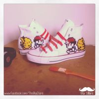 Ash (Red) and Pikachu Custom Converse by Houggiebear