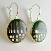 Re-Purposed Computer Circuit Board Earrings by Techcycle