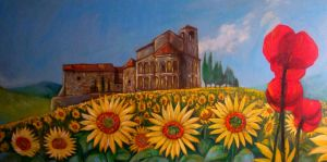 Landscape with sunflowers and poppies by Pidimoro