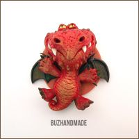 Fantasy Fire Dragon - Polymer Clay Charm #2 by buzhandmade