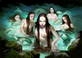 Cave mermaids by GuzBoroda