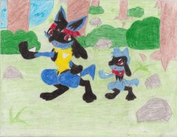 Lucario and Riolu by ShowtimeandCoal