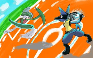 Gallade vs. Lucario by Gaz-KnightofNylrac
