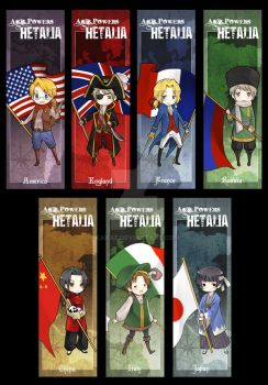 Hetalia Bookmarks by kanae