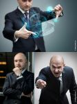 Business technology. Angry boss. Stock images. by Vitaly-Sokol