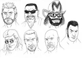 Wrestler sketches 1 by BloodySamoan