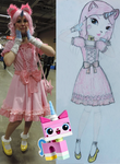 Unikitty cosplay (sketch and photo) by Lomise