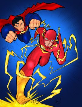 Superman and Flash by MoatazSayed
