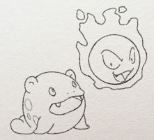 Spheal and Gastly sketch by ezeqquiel