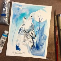 Howling Wolf Watercolor Mini by Lucky978