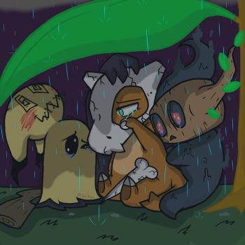 One another's comfort (Mimikyu, Cubone, Phantump) by YaoiLover113