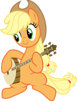 Applejack playing banjo by Korsoo