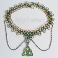 Triquetra Chainmaille Necklace by merigreenleaf