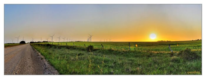 sunset at wind farm by qwodhoc
