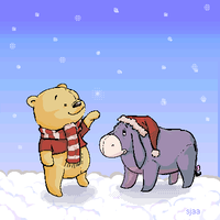 Winter Pooh and Eeyore by Moonseed