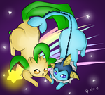 Leafeon and Vaporeon by RawrDinox3