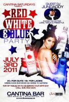 red white and blue party flyer by DeityDesignz