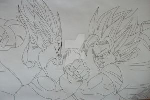 Rivals forever- Super Saiyan 2 Son Goku and Vegeta by SakakiTheMastermind
