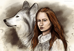 Sansa and Lady by TinaTurtle