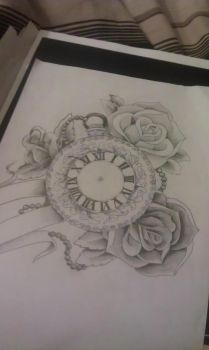 Pocket watch and roses by Mustang-Inky