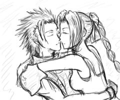 Zack x Aerith Sketches by InfiniteShatter