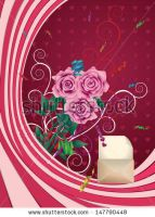 Greeting card with opened envelope and pink roses by AnnArtshock