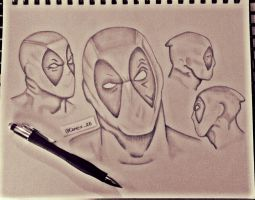 Deadpool Head sketches by MarcusKane82