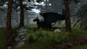 Toothless in the forest by DragonMatryoshka