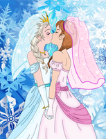 Wedding Kiss (ElsaxAnna) by LuckyLadyXandra