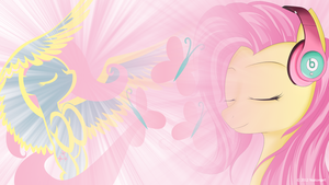 Fluttershy likes listening to music Wallpaper by nsaiuvqart