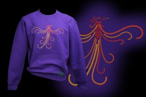 Embroidered Rising Phoenix on Purple Sweatshirt by FancyTogs