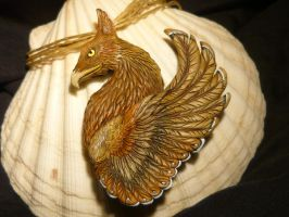 Gryph of golden Mountains - handcrafted Pendant by Ganjamira