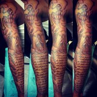 Sleeve tattoo I freehanded by MontyKVirge