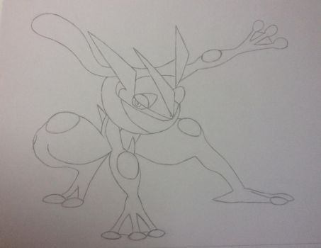 Greninja (Line Work) by BlueArtist680