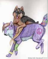 Piggy back ride by NatsumeWolf