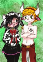Cow and Bull by SweetxAriannaxEngel