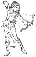 Arya with a bow by Mikha