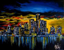 Detroit Skyline by CanadianMaple09