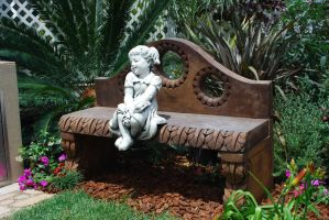 Statue on a Bench stock by chamberstock