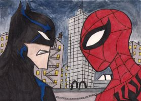 batman vs spiderman by stupidboy187