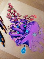 Octopus and Cherry Blossoms - WIP by dannii-jo
