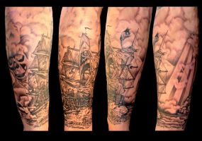 pirate ship tattoo by asussman
